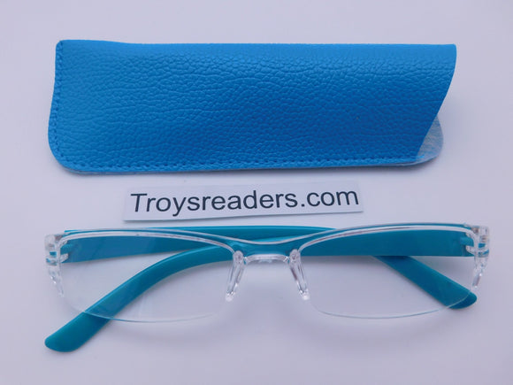 Pastel Rimless Readers With Case in Five Colors Reader with Display Blue +1.50