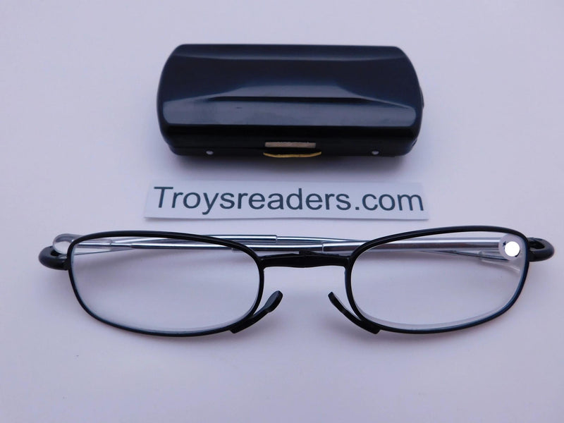 Periscope Folding Readers With Metal Case in Five Colors Reader with Display Black +1.00