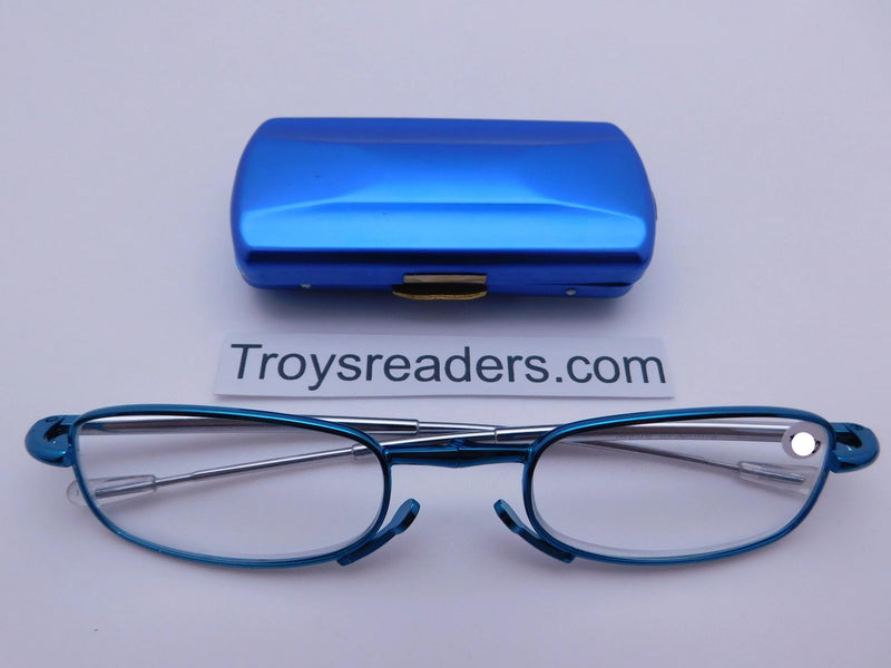 Periscope Folding Readers With Metal Case in Five Colors Reader with Display Blue +1.00