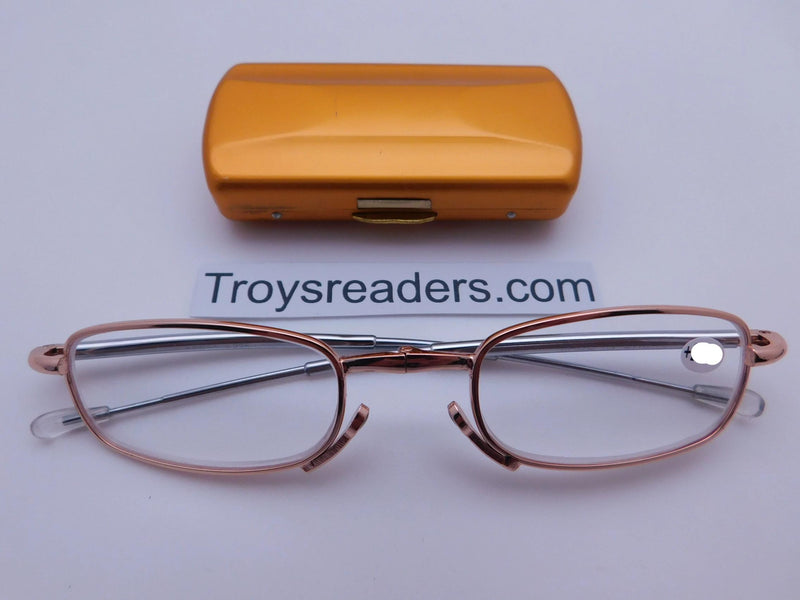 Periscope Folding Readers With Metal Case in Five Colors Reader with Display Gold +1.00