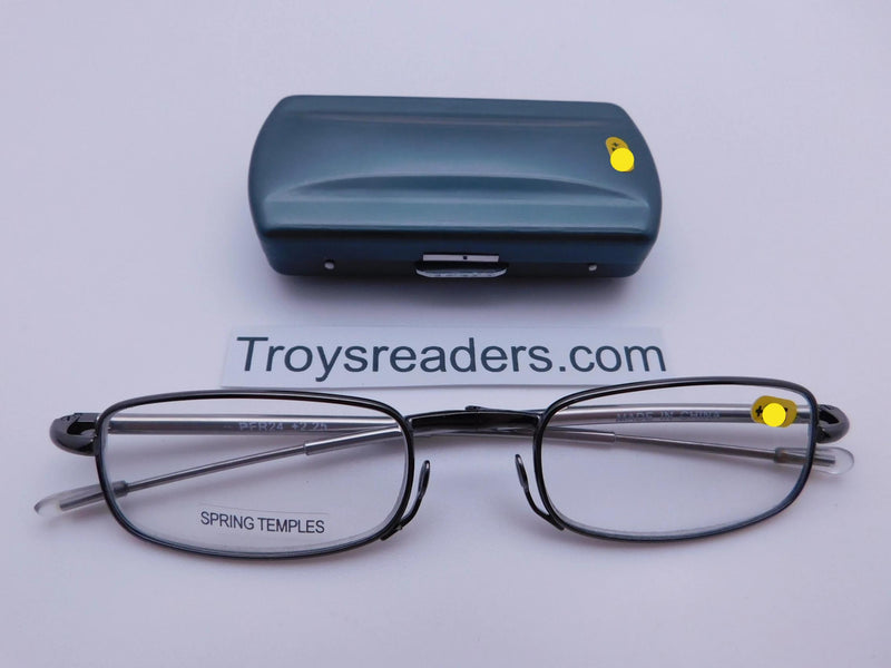 Periscope Folding Readers With Metal Case in Five Colors Reader with Display Gray/Blue +1.00