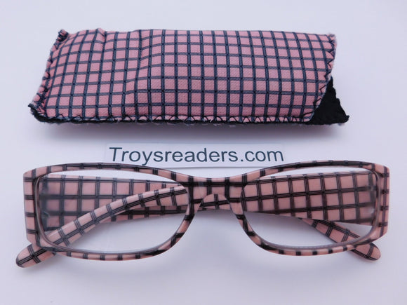 Plaid Print Readers With Case in Five Colors Reader with Display Pink +1.00