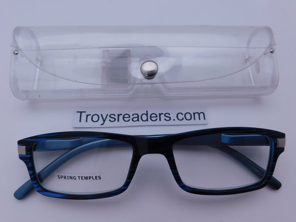 Plastic Metal Pattern Readers With Case in Four Colors Reader with Display Blue Stripe +1.25