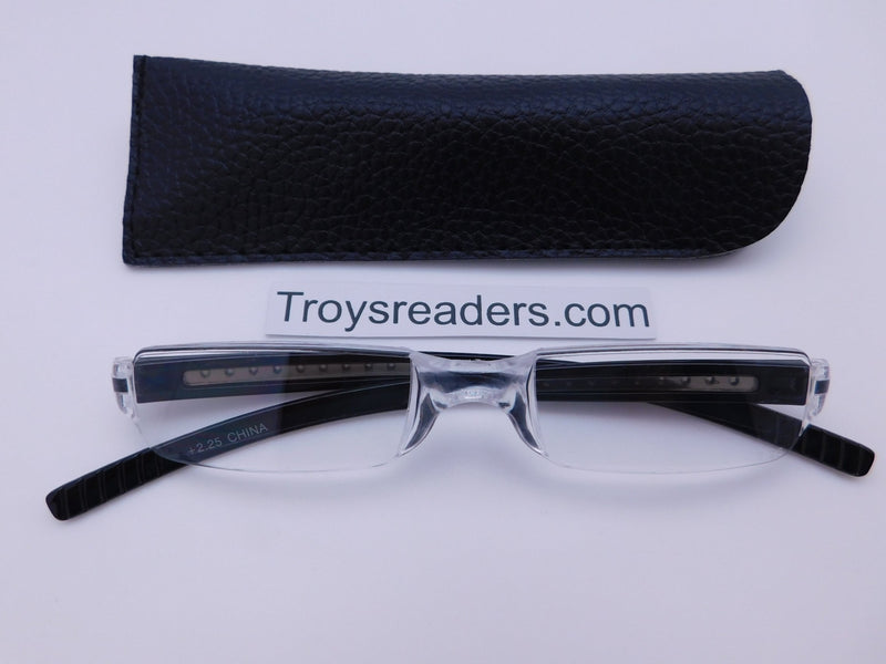 Plastic Rimless Two Tone Readers With Case in Four Colors Reader with Display Black Black Case +1.25