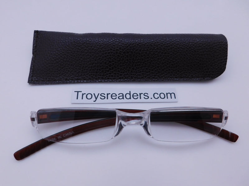 Plastic Rimless Two Tone Readers With Case in Four Colors Reader with Display Brown Brown Case +1.25