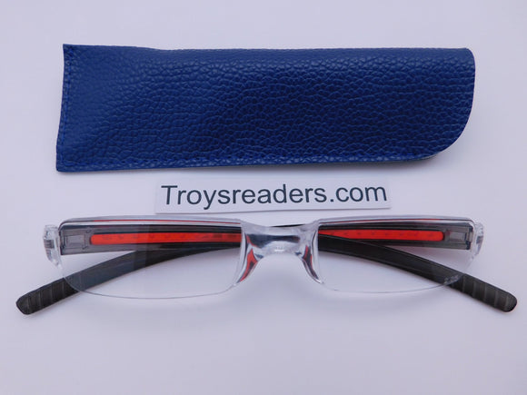 Plastic Rimless Two Tone Readers With Case in Four Colors Reader with Display Gray/Red Blue Case +1.00