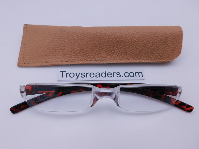 Plastic Rimless Two Tone Readers With Case in Four Colors Reader with Display Tortoise Tan Case +1.25