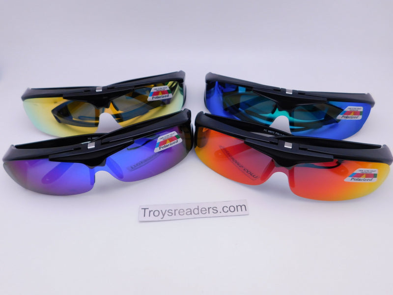 Polarized Mirrored Flip-up Fit Overs in Four Colors Fit Over Sunglasses