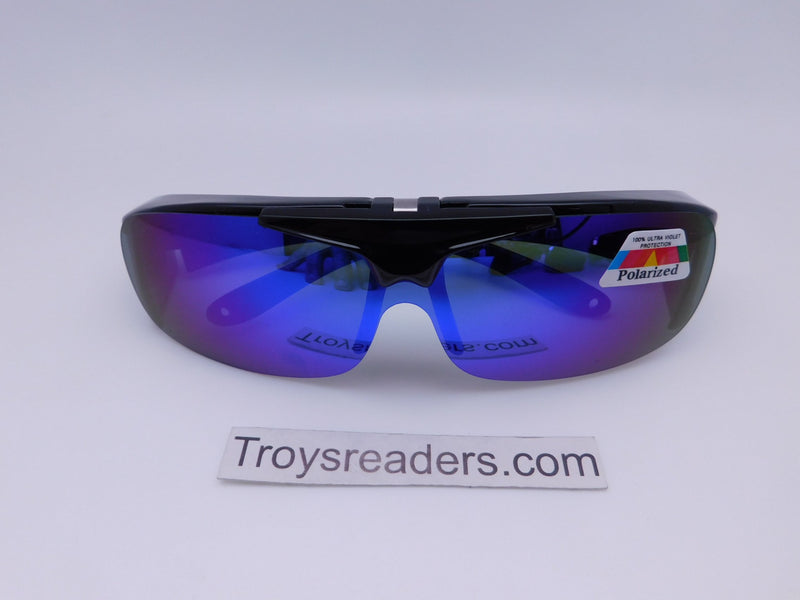 Polarized Mirrored Flip-up Fit Overs in Four Colors Fit Over Sunglasses Blue Mirror