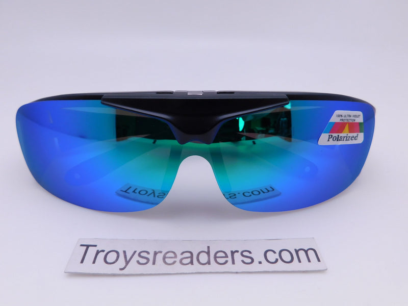 Polarized Mirrored Flip-up Fit Overs in Four Colors Fit Over Sunglasses Blue/Green Mirror