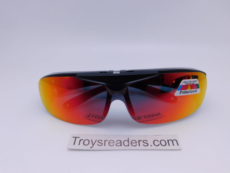 Polarized Mirrored Flip-up Fit Overs in Four Colors Fit Over Sunglasses Red/Orange Mirror