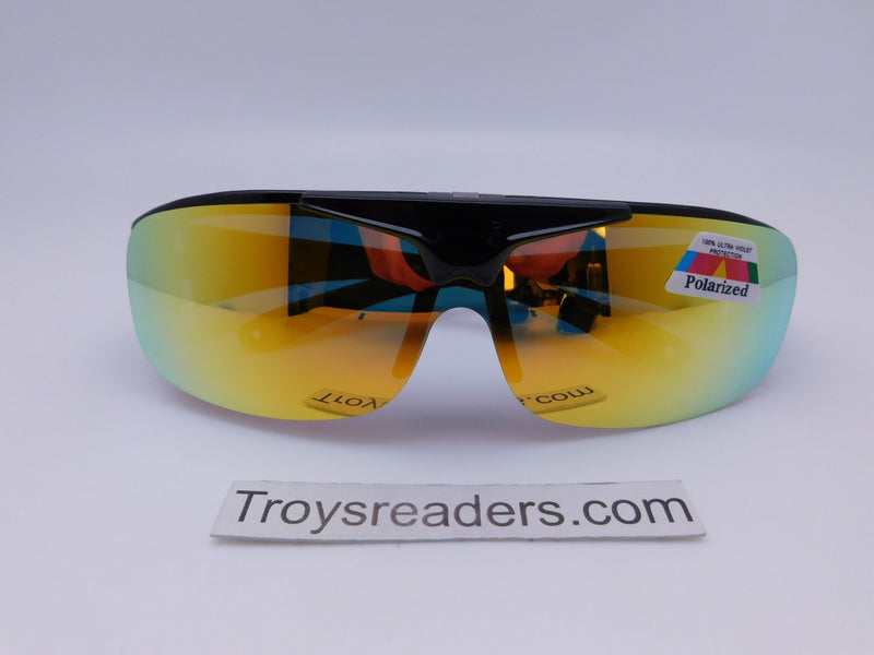 Polarized Mirrored Flip-up Fit Overs in Four Colors Fit Over Sunglasses Yellow Mirror