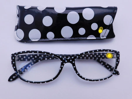 Polka Dot Readers With Case in Four Colors Reader with Display Black +1.25
