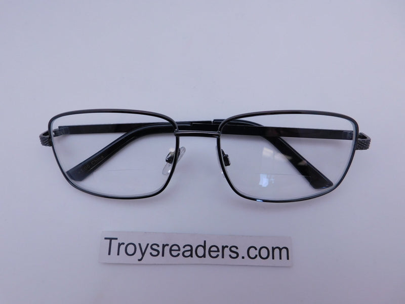 Rectangular Metal Frame Clear Bifocal Reading Glasses in Two Colors Clear Bi-focal Black +1.00