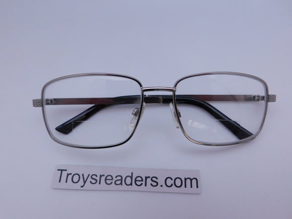 Rectangular Metal Frame Clear Bifocal Reading Glasses in Two Colors Clear Bi-focal Silver +1.00