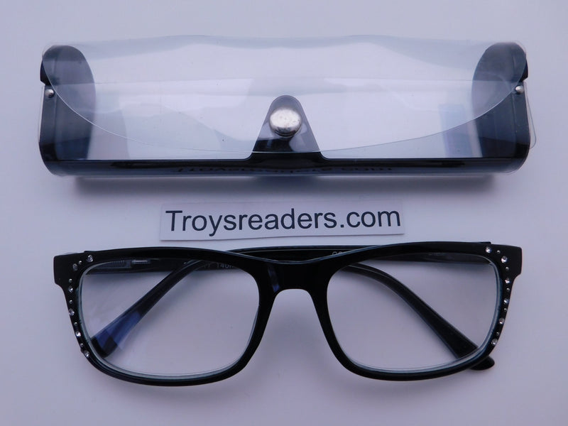 Rhinestone Chic Readers In Four Colors Reader with Display Black +1.25