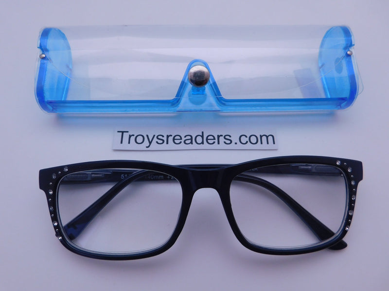 Rhinestone Chic Readers In Four Colors Reader with Display Blue +2.50