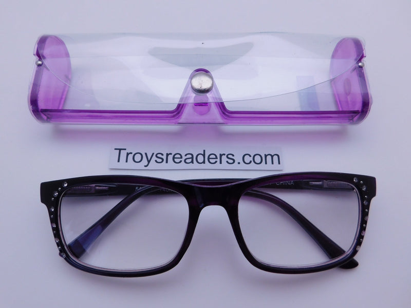 Rhinestone Chic Readers In Four Colors Reader with Display Purple +2.00