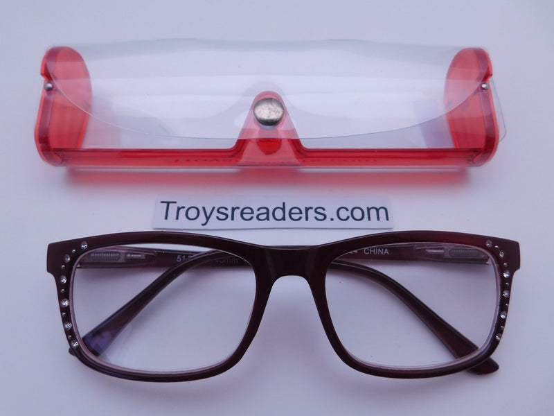 Rhinestone Chic Readers In Four Colors Reader with Display Red +1.50