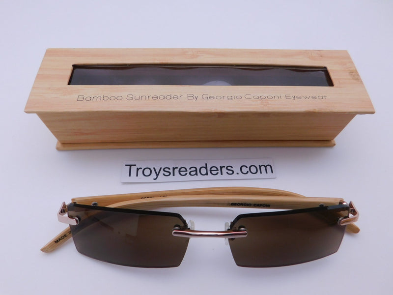 Rimless Bamboo Sun Readers With Box Reader with Display Amber +1.00