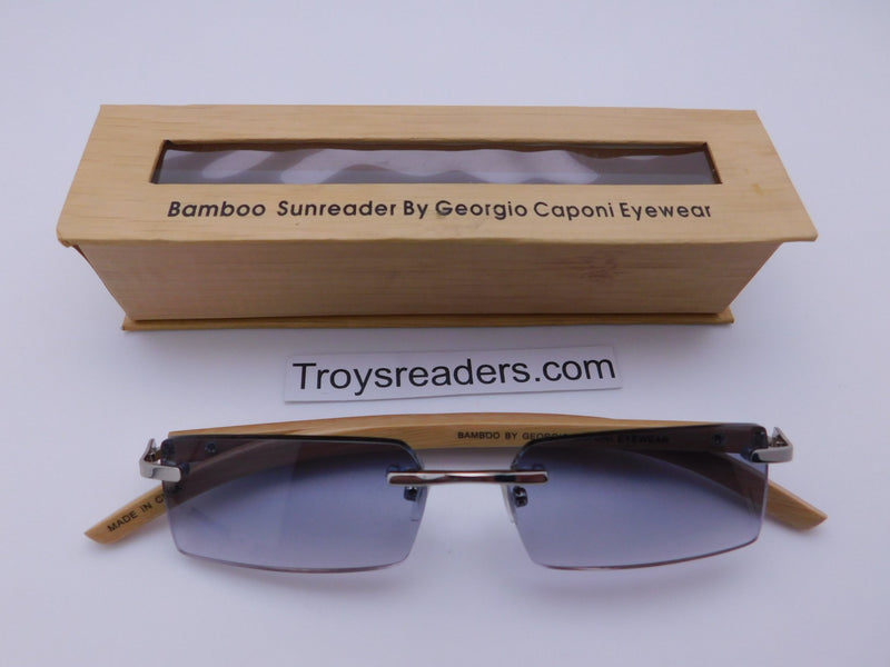 Rimless Bamboo Sun Readers With Box Reader with Display Gradient +1.25