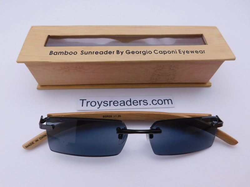 Rimless Bamboo Sun Readers With Box Reader with Display Smoke +1.25