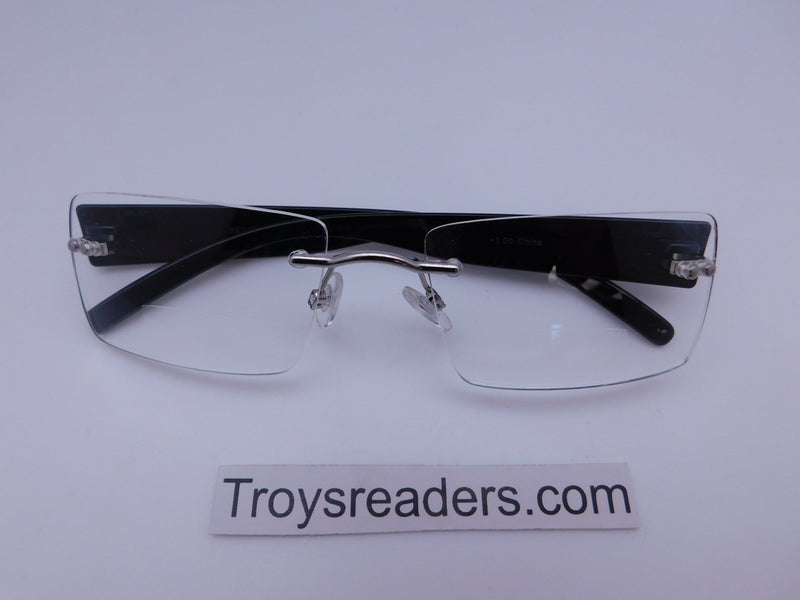 Rimless Clear Bifocal Reading Glasses in Two Colors Clear Bi-focal Black +1.00