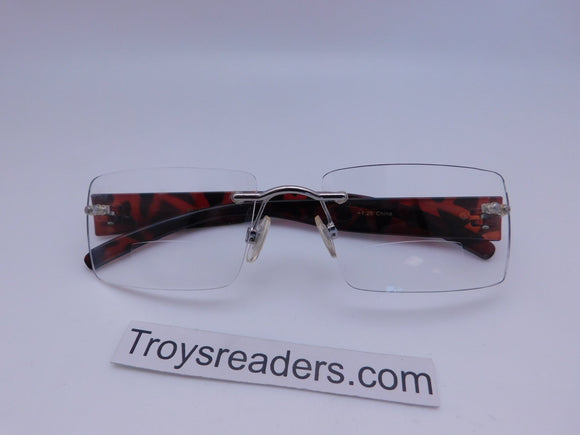 Rimless Clear Bifocal Reading Glasses in Two Colors Clear Bi-focal Tortoise +1.00