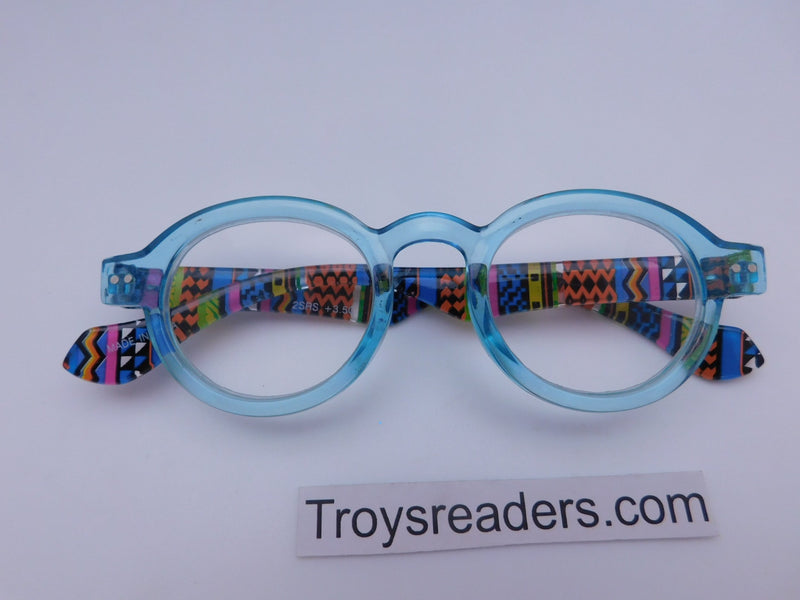 Round Readers in Four Colors Reader no Case Transparent Blue +1.00