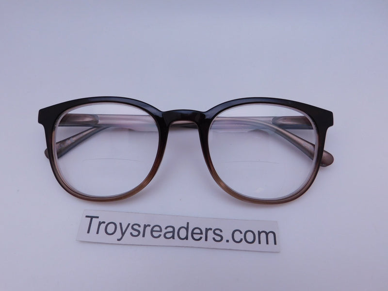 Rounded Clear Bifocal Reading Glasses in Four Colors Clear Bi-focal Brown +1.50