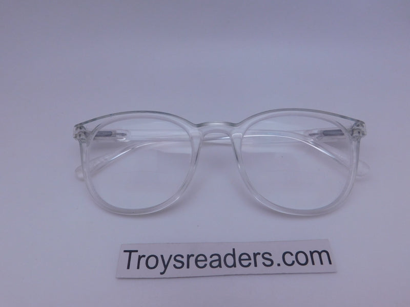Rounded Clear Bifocal Reading Glasses in Four Colors Clear Bi-focal Clear +1.75