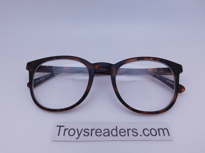 Rounded Clear Bifocal Reading Glasses in Four Colors Clear Bi-focal Tortoise +1.25