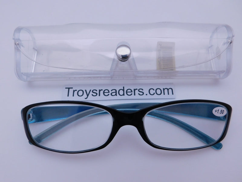 Shiny Metallic Readers With Case in Five Colors Reader with Display Blue +1.25