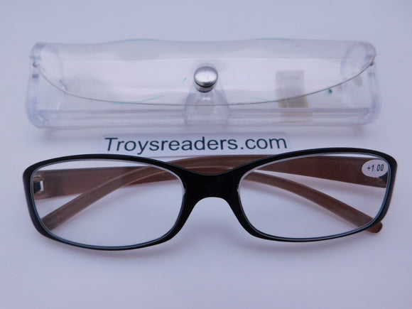 Shiny Metallic Readers With Case in Five Colors Reader with Display Copper +1.00