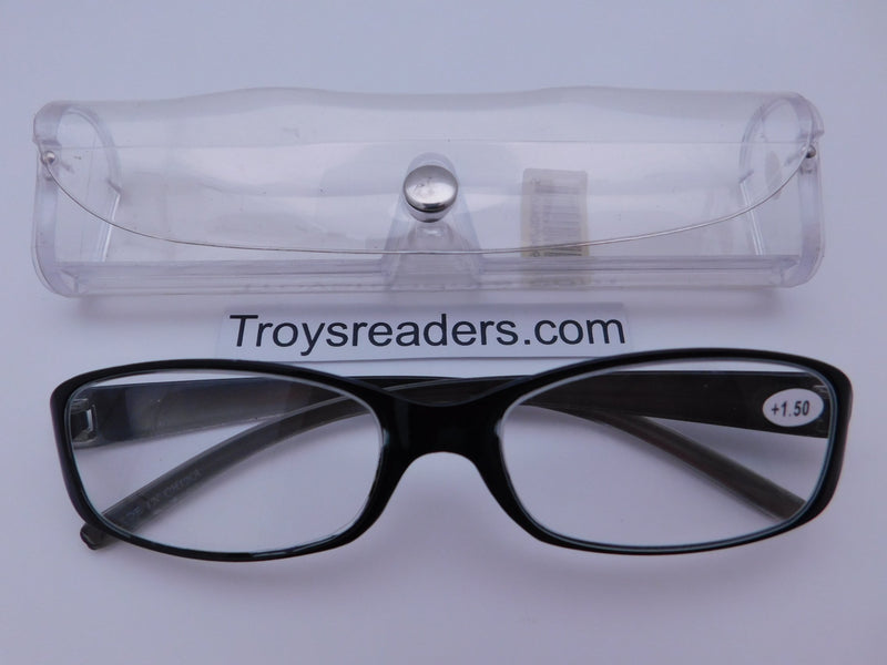 Shiny Metallic Readers With Case in Five Colors Reader with Display Gray +1.50
