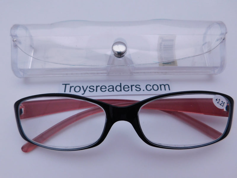 Shiny Metallic Readers With Case in Five Colors Reader with Display Red +1.75