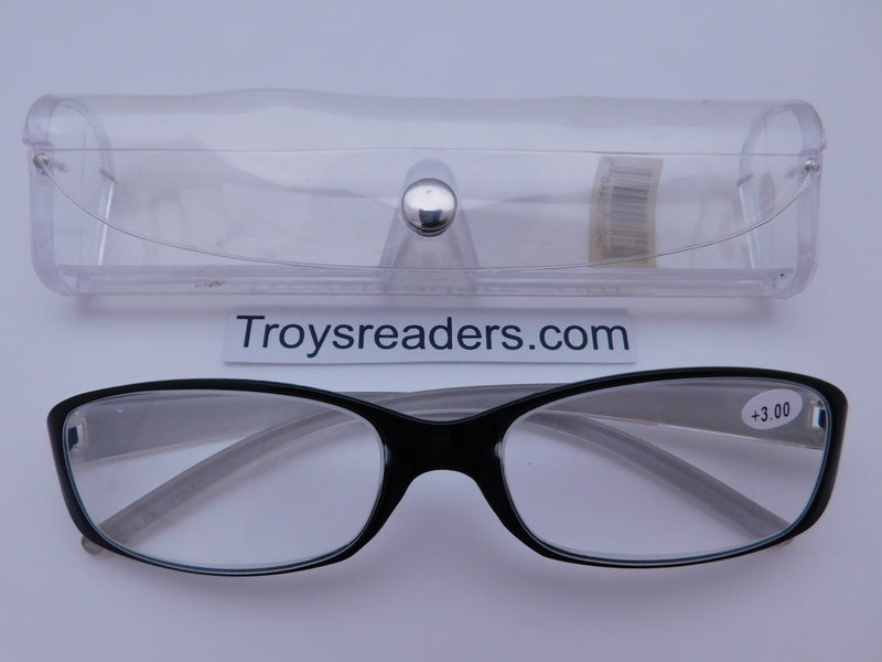 Shiny Metallic Readers With Case in Five Colors Reader with Display Silver +1.50