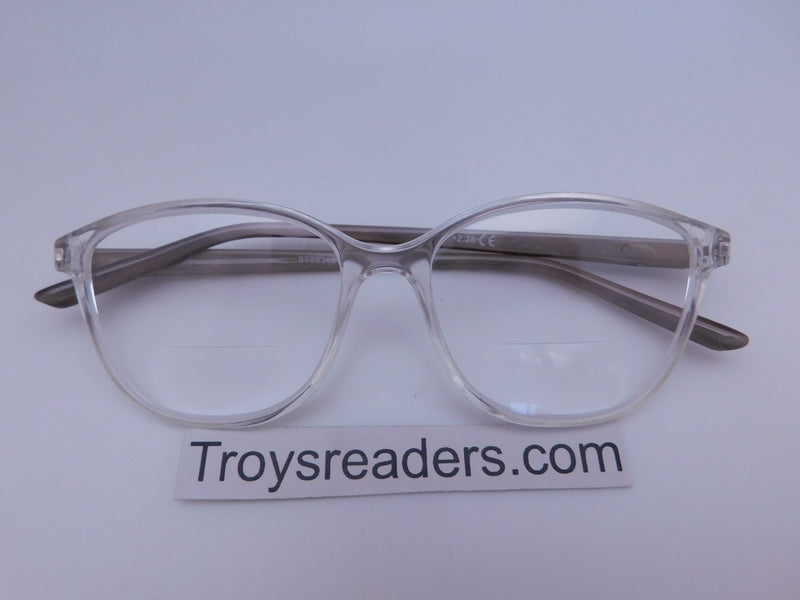 Slight Cateye Clear Bifocal Reading Glasses Clear Bi-focal Clear +2.25