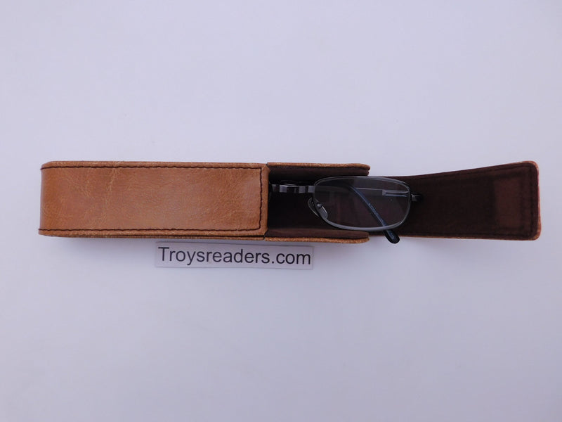 Slim Leather Reading Glasses Case