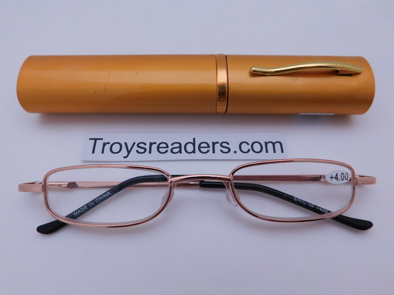 Slimline Metal Tube Readers Seven Colors Reader with Display Gold +1.00