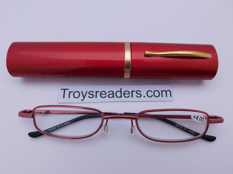 Slimline Metal Tube Readers Seven Colors Reader with Display Red +1.00