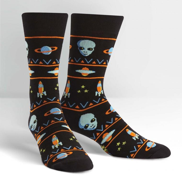 Sock It To Me Men Crew Alien Sweater Sighting Socks