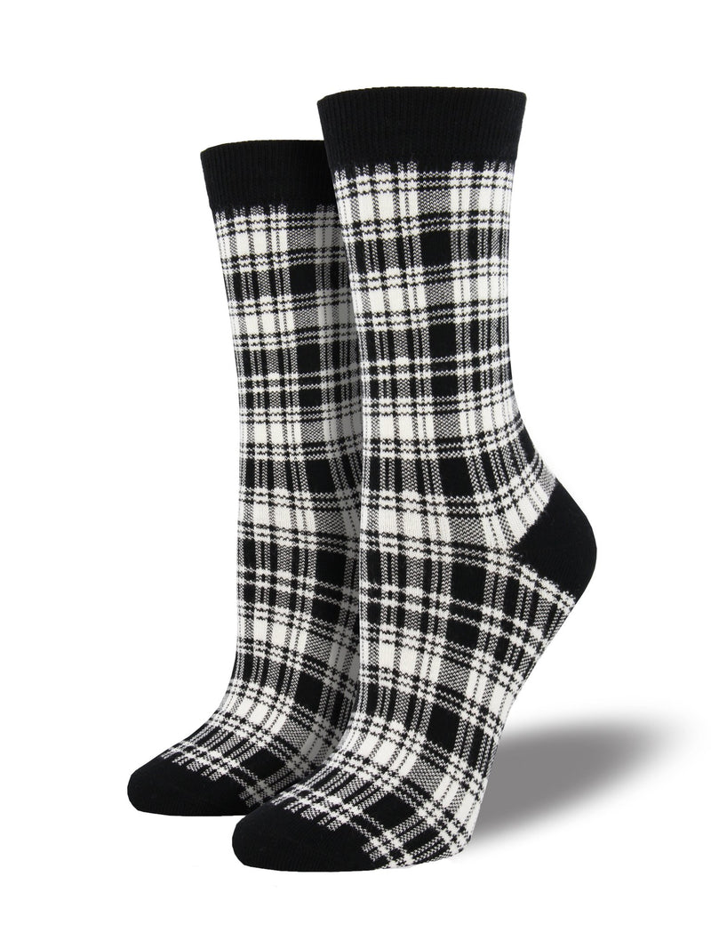 SockSmith Bamboo Women Crew Black and White Plaid Socks