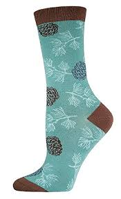 SockSmith Bamboo Women Crew Pinecones Lt Jade Green Socks