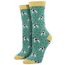 SockSmith Bamboo Women Crew Terriers Lt Jade Green Socks