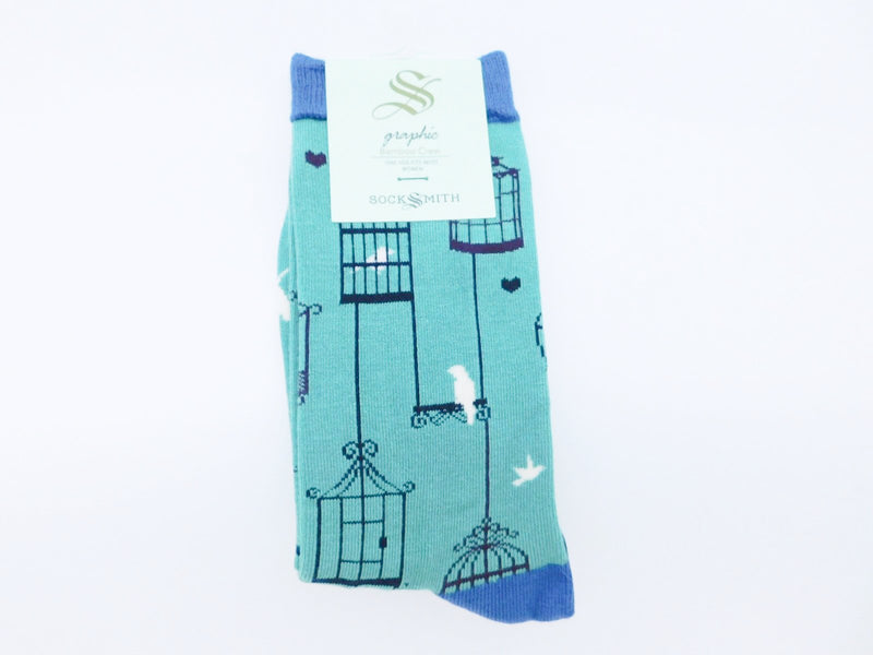 SockSmith Bamboo Women Crew Why The Caged Bird Sings Lt Jade Green Socks
