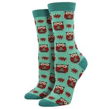 SockSmith Bamboo Women Crew Woodland Owls Mist Socks