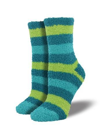 SockSmith Crew Stripe Turquoise/Lime Warm and Fuzzy Women Socks