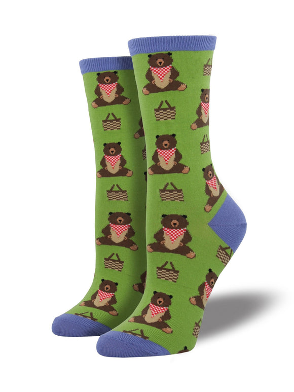SockSmith Women Crew Time For A Pic-A-Nic Grass Socks