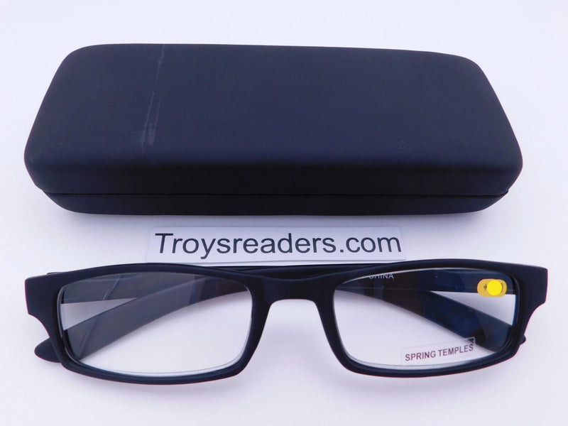 Soft Touch Stitched Readers With Case in Five Colors Reader with Display Black +1.00